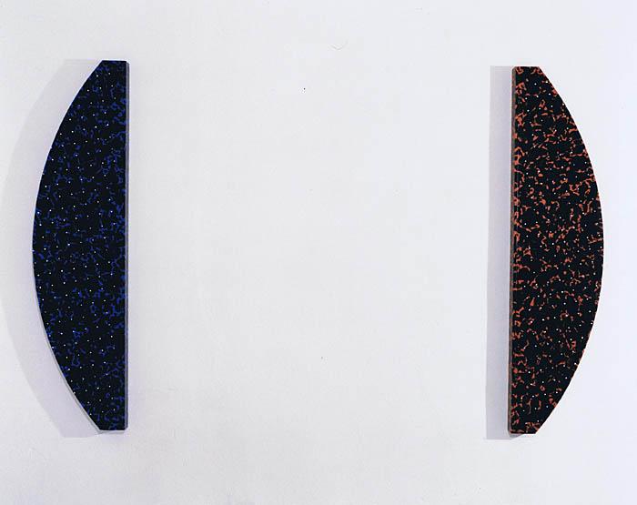 'Pole rot und blau' 1991, Acryl auf Holz, 2x 130 x 32 x 5 cm