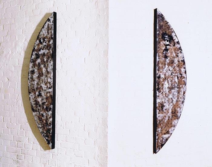 'Segmente 991-VIII' 1991, Acryl auf Holz, 2x 165 x 40 x 6 cm