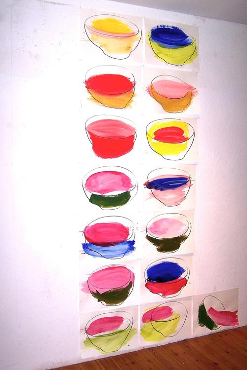 'neue gebrauchte Schüsseln' 2005–2009, Wachs u. Gouache auf Papier, je 34,5x48 cm