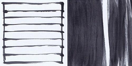 'Links- und Rechtsschreibung (1)', 1990, Acryl auf Papier, 20 x 39 cm