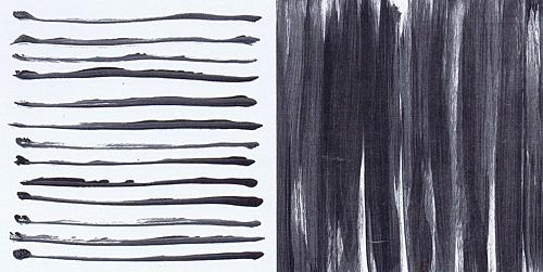 Links- und Rechtsschreibung (3) , 1990, Acryl auf Papier, 20 x 39 cm