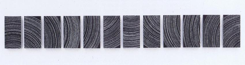 'einmal rum' 1990, Kreide auf Tafellack, 28,5 x 202 cm