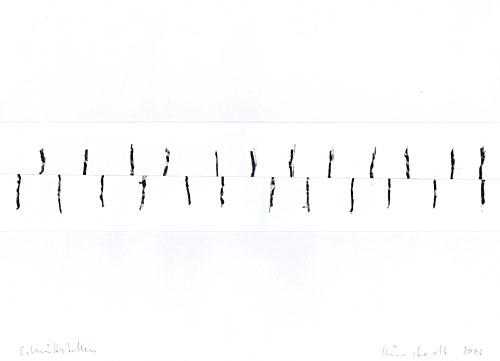 ''Inter-Wall einfach' 2008, Wachskreide/Papier, 30 x 40 cm