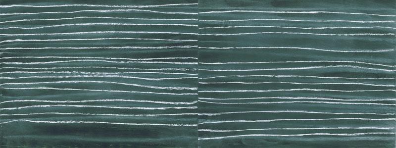 'neue Nachrichten 1 links, 1 rechts', 2008, Pastell auf Papier, 24 x 64 cm