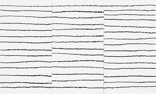 'Linientreu I' Wachskreide auf Papier, 2005, 48 x 80 cm
