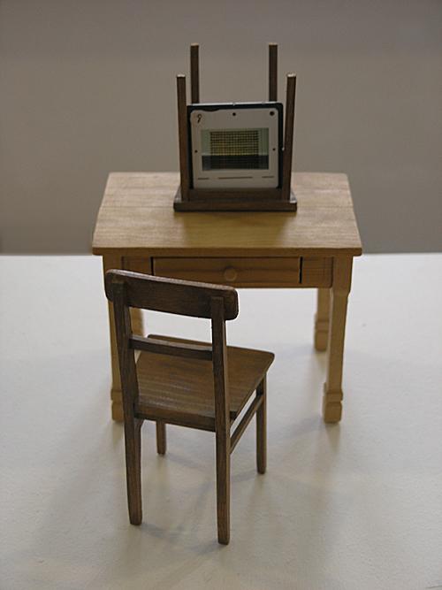 'innen einrichten 1989 – 2009' Holz u. Dia, Höhe ca. 18,5 cm